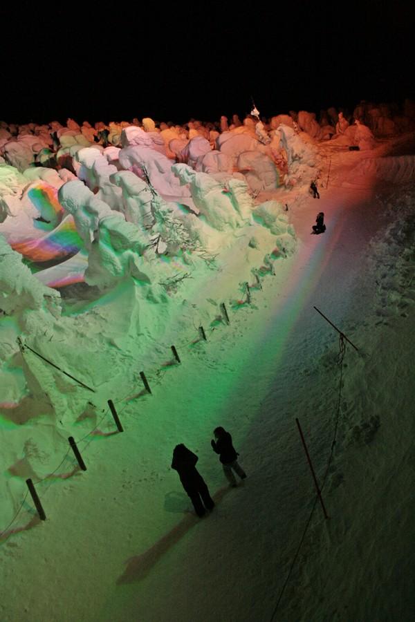 Zao Snow Monsters in Yamagata, Tohoku, Japan with rainbow lights