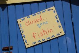Closed gone fishing sign BVI