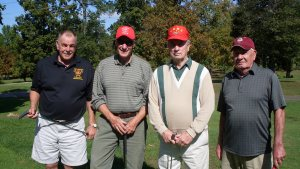 Golfers Barry Hollinger, Newton, Bill Jackman, Stillwater, Gary Goble, Stillwater, and Amos Westbrook, Belvidere pose at the Fall Senior Golf Open.
