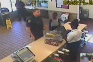 Police officer ordering at McDonald's buys cookies for boy