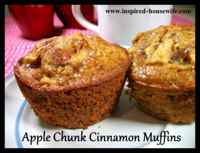 Inspired-Housewife: Apple Chunk Cinnamon Muffins - gluten free or regular - healthy - breakfast, tea time, or snack