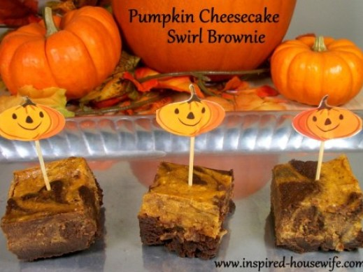 Inspired-Housewife: Pumpkin Cheesecake Swirl Brownies - perfect Halloween or Thanksgiving Treat, Gluten Free, Kid and party friendly