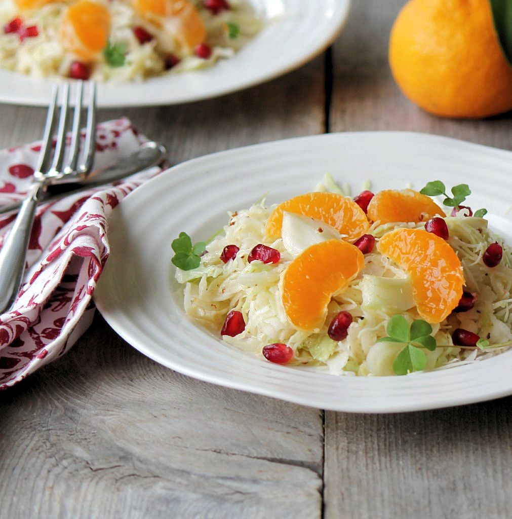 winter white salad with mandarin and pomegranate_duo