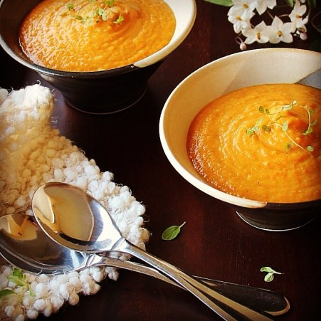 carribean spiced sweet potato and carrot soup