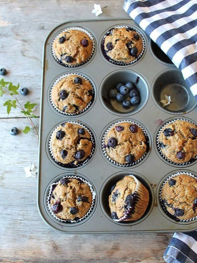 blueberry burst spelt muffins