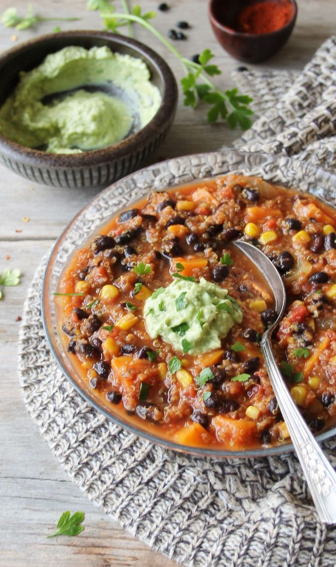 Slow Cooker Vegetarian Quinoa Chili with Avocado Cream