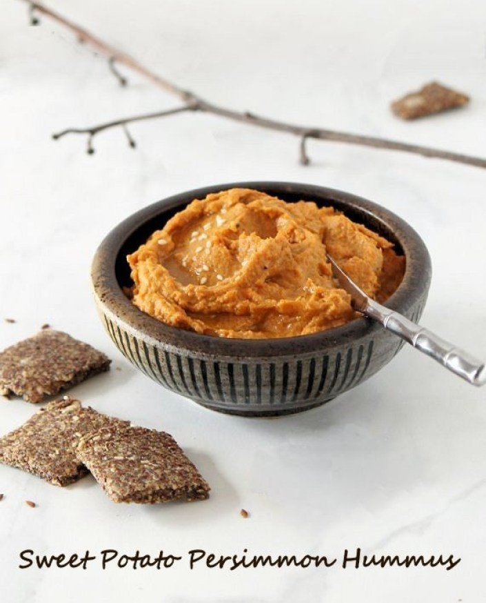 Persimmon & Sweet Potato Hummus with Flax Crackers