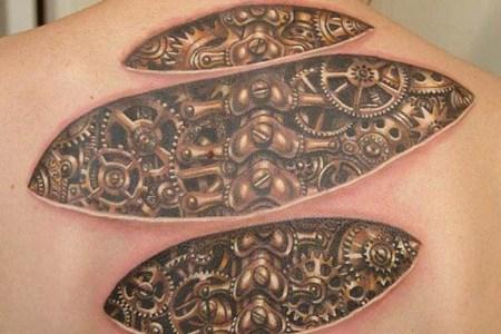 bio mechanical back tattoo