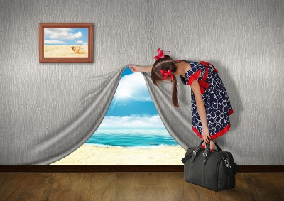 38758035 - child look at sea behind the wall, vacation concept