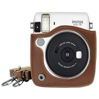 Takashi PU Leather Protect Case Bag for Fujifilm Instax Mini 70 Instant Camera - Brown