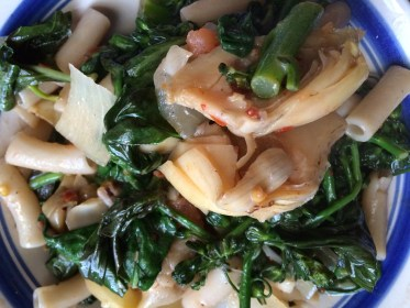 A recent variation on my pasta recipe from Food of Love, with broccolini, artichoke hearts, and fresh tomato-basil sauce. Plant-based diets reduce inflammation, aging, and risk for heart disease, heart attacks, and type 2 diabetes.