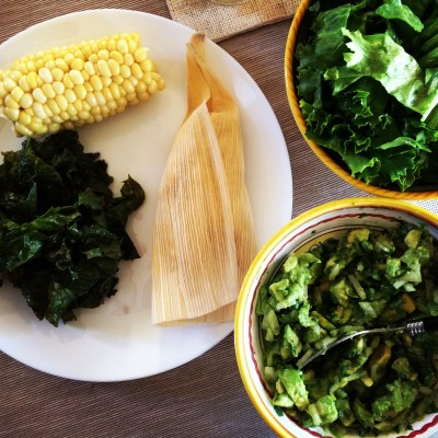 One of the most amazing examples of Mom's growing confidence as a gluten-free vegan: she taught herself to make tamales, and loves to serve them with homemade guacamole, corn on the cob and tons of greens.