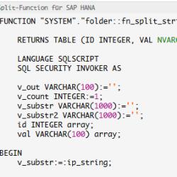 SQL Split Function SAP HANA