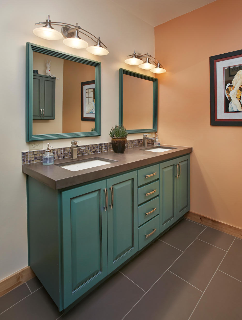 bathrooms kitchen remodeling tucson az accessible roll eclectic guest bath slate countertop with dual under mounted