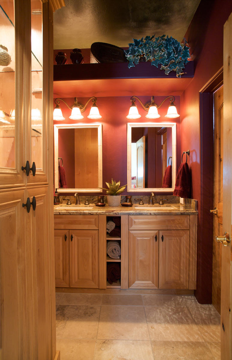 bathrooms kitchen remodel tucson Tucson fabulous guest bathroom Hickory vanity and display cabinets Marble countertops with eased edge detail