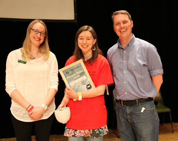 New and Emerging Makers International Visiting Artist Awards 2017: L-R Becky Otter (Potclays), Emily Waugh (Winner), James Otter (Potclays) with teh award made by Lanty Ball