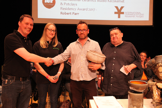 INTERNATIONAL CERAMICS STUDIO KECSKEMÉT RESIDENCY AWARD  2017 ( with ICF & Potclays) L-R Becky Otter (Potclays), James Otter (Potclays), Rob Parr (winner), Steve mattsion (ICS Hungary)