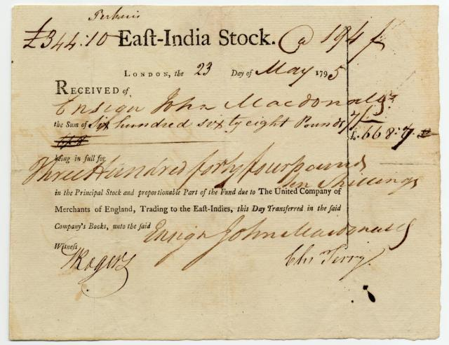 East India Stock Certificate