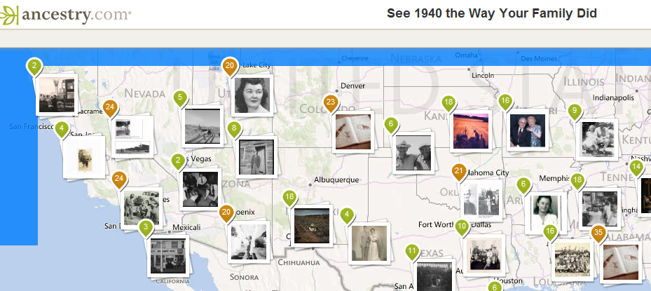 Ancestry Map with Photos Interactive from 1940 US Census