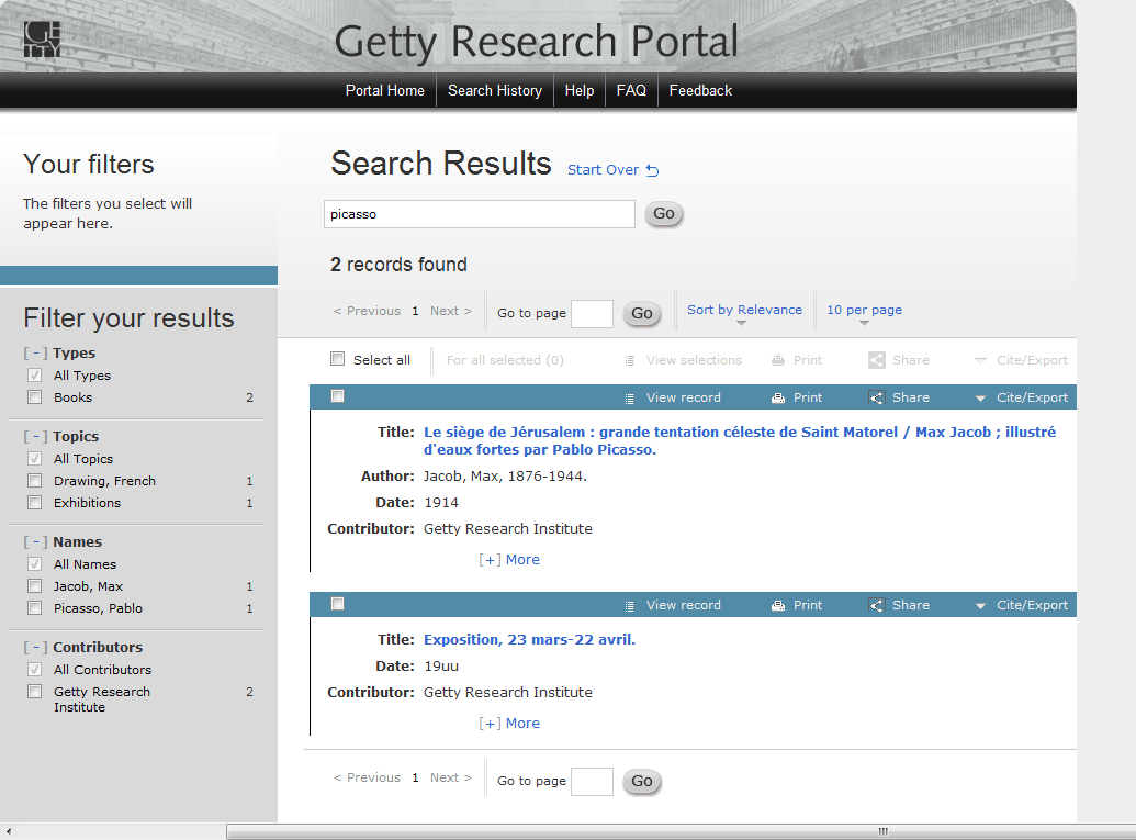 Getty Institute Research Portal for Art History
