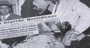 صورة لـ ڨرين بلڨاسم بعد استشهاده في ميدان الشرف.