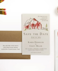 rustic watercolor barn save the date card wedding farm country