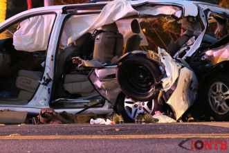 Damaged vehicle from crash on Gulf to Bay and Damascus Road