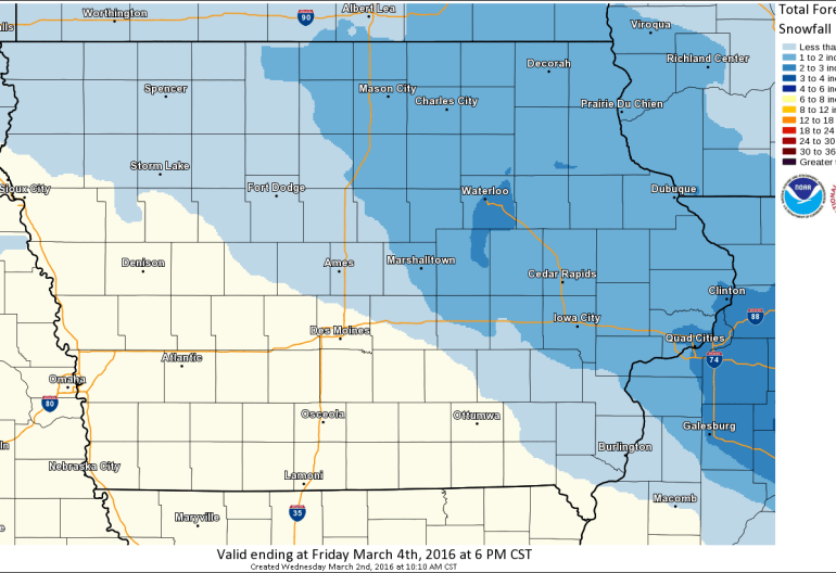 Iowa Forecast Snowfall Accumulations
