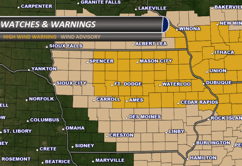 Iowa high wind warning