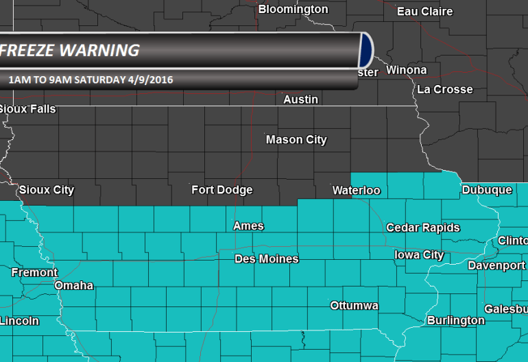 Iowa Freeze Warning
