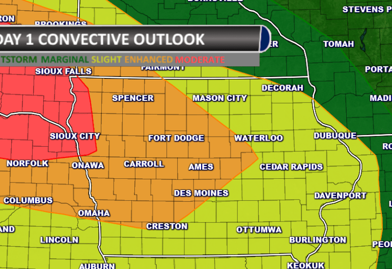 Iowa Severe Weather Outlook Moderate Risk