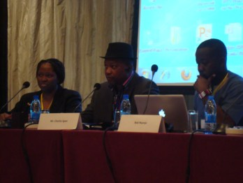 Olufunmilayo Arewa, Charles Igwe, and Bob Nyanja on African film industry panel (Photo Credit: IP-Watch)