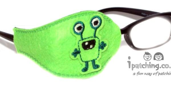 Alien_On_Lime_Plastic_Frame_Orthoptic_Eye_Patch