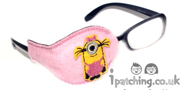 Minion-Girl-On-Baby-Pink-Plastic-Frame-Orthoptic-Eye-Patch