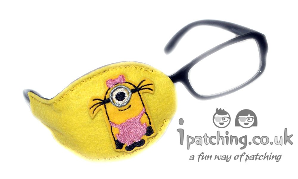 Minion-Girl-On-Bright-Pink-Plastic-Frame-Orthoptic-Eye-Patch