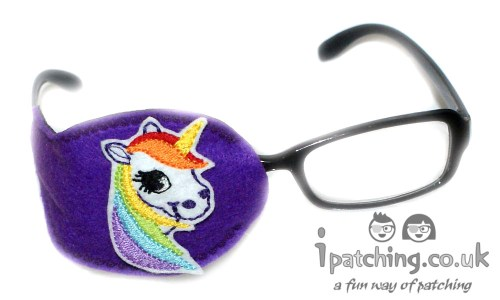 White_Unicorn_On_Purple_Plastic_Frame_Orthoptic_Eye_Patch