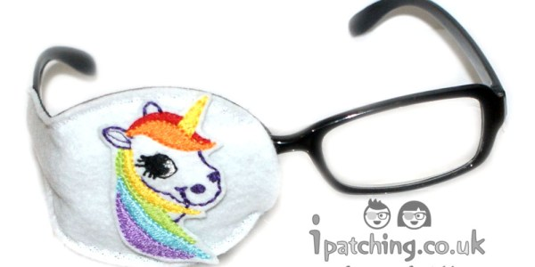 White_Unicorn_On_White_Plastic_Frame_Orthoptic_Eye_Patch