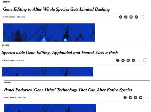 Harmon Gene Drive article headline