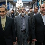 Three members of the Coalition of 2+1. From left: Ali Akbar Velayati, Gholam Ali Hadad-Adel, Mohammad Bagher Ghalibaf.(photo credit: Fars)