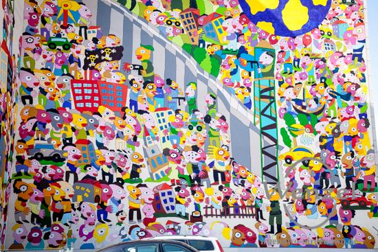 Wir sind das Volk – friedliche Revolution 1989 – Darstellung des  Leipziger Künstlers Michael Fischer-Art an der Brandmauer des Marriott-Hotels / Leipzig