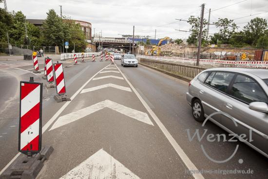 Noch läuft der Verkehr stadtauswärts  –  ab Montag, 13. Juli,  kommt es zur Vollsperrung –  Baustelle City-Tunnel Magdeburg