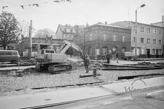Bauarbeiten in Höhe Straßenbahndepot Halberstädter Straße (April 1989)