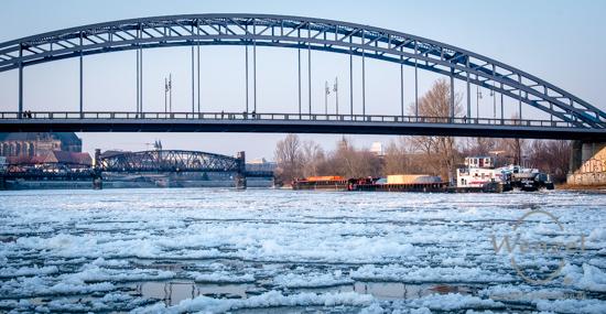 Treibeis auf der Elbe - Magdeburg im Griff des Winters –  Foto Wenzel-Oschington.de