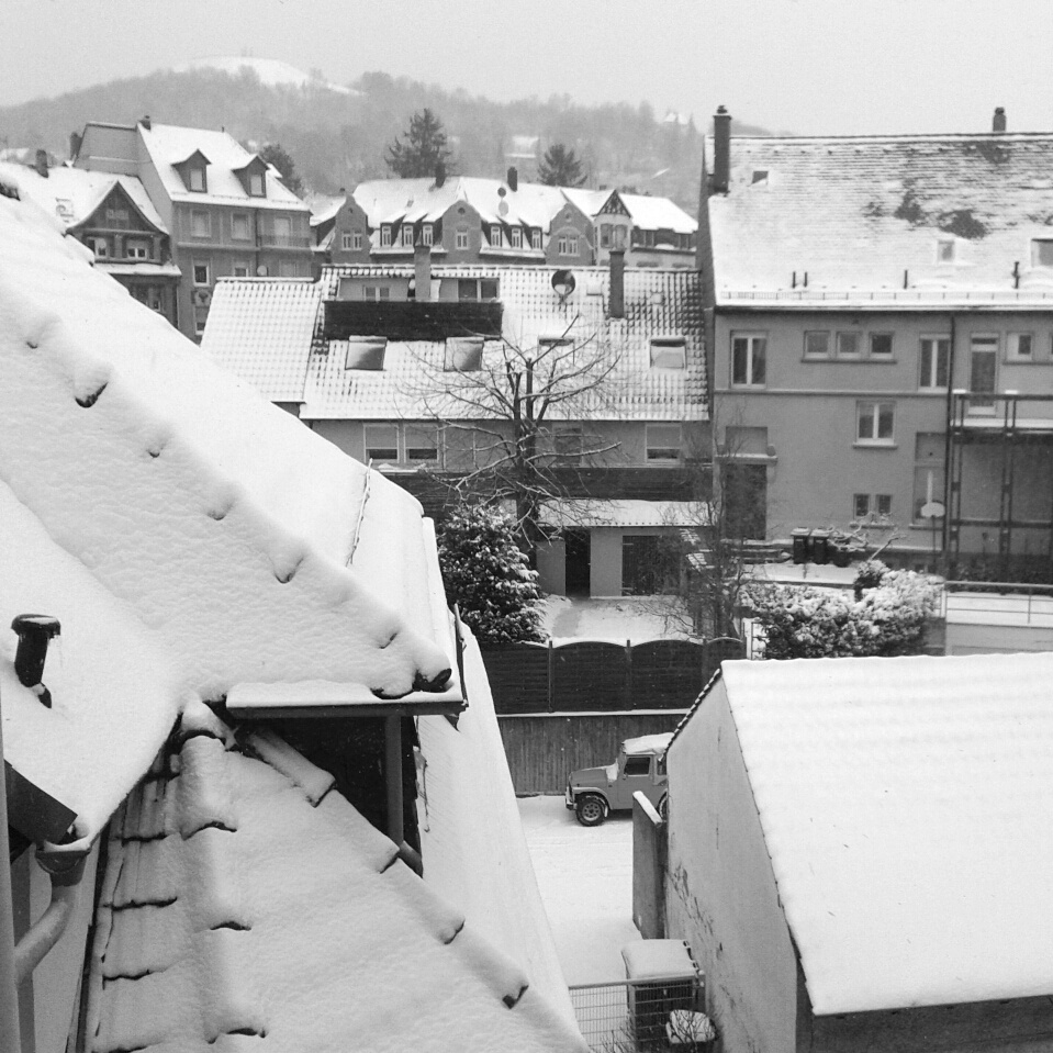 Snow on Roofs Old Village