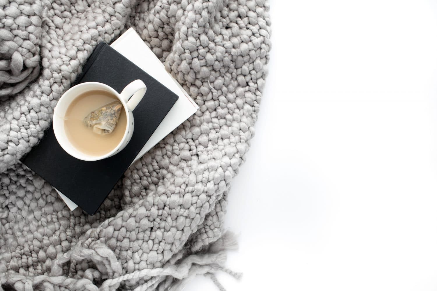 Coffe Mug, Notebook, Wool Blanket White Background