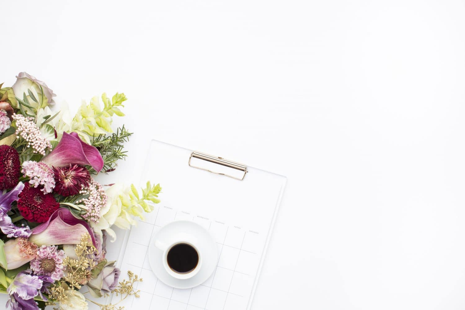 Flowers, Cup Of Coffee, Notepad Flatlay on White Background