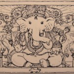 Shri Ganesha, pen and ink