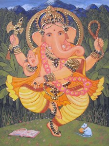 Dancing Ganesha, 2009, A4 size, gouache and tanjore gems on board