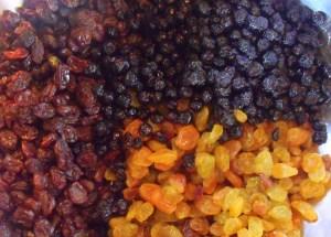 Raisins, golden raisins and wild blueberries