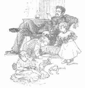 Vintage Clipart - father and children